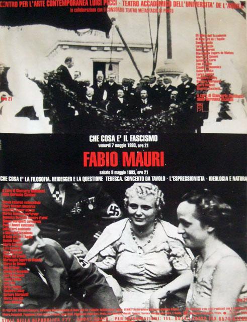 manifesto Fabio Mauri - Che cosa è la filosofia. Heidegger e la questione tedesca. Created by Roberto Falco