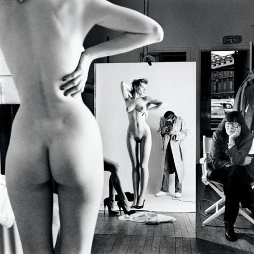 Helmut Newton, Self-Portrait with Wife and Models, Vogue Studio, Paris 1981