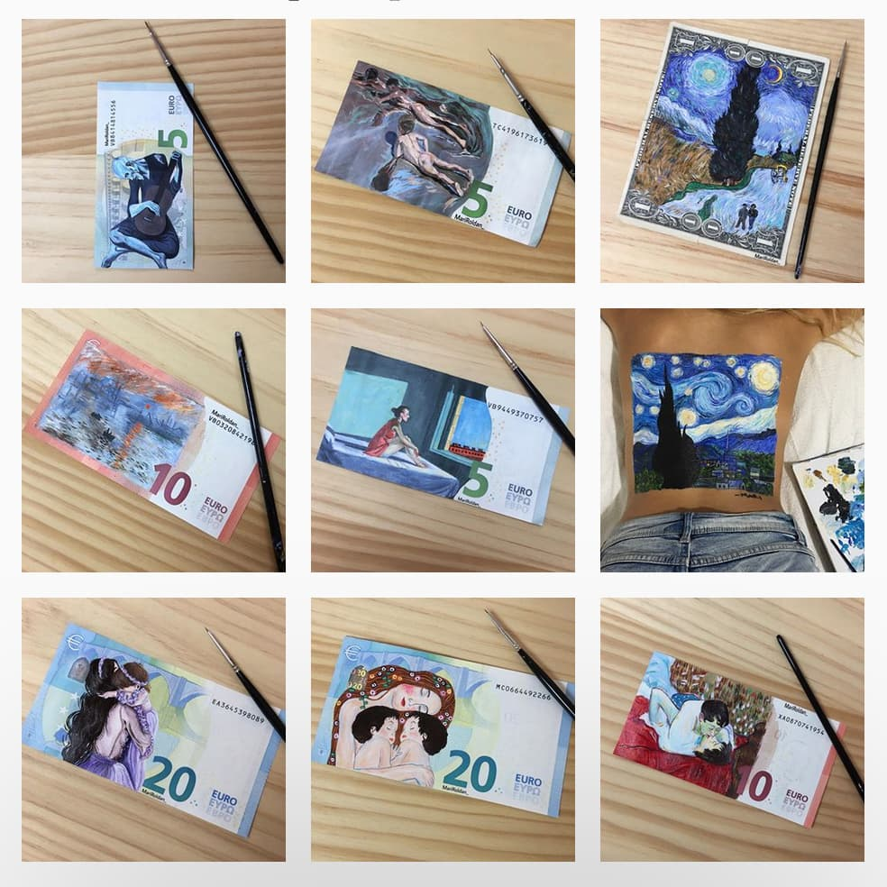 Mari Roldàn e le sue banconote dipinte